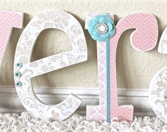 Custom Nursery Letters- Baby Girl Nursery Decor- Coral - Wooden Hanging Letters - Nursery Wall Letters- The Rugged Pearl