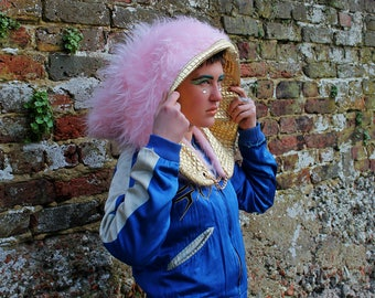 Pixie Hood pink and gold fluffy oversized festival headdress MUTHA HOOD