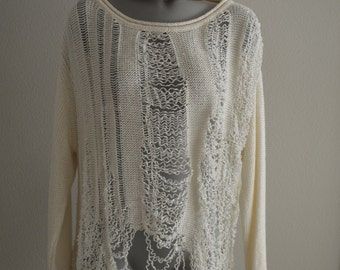 Revamped Ivory Shredded Sweater L