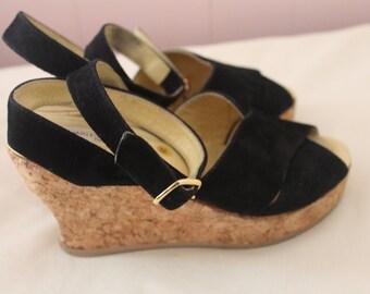 Vintage Charles Jourdan Paris Black Suede Wedge Heels Women's size 5