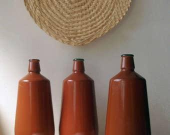 vintage bottles, vintage glass bottles, old bottles, vintage wine bottles, jm da fonseca, portugal, set of three, rustic bottles