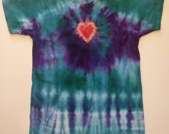 Kids' size M (10/12) Tie-dye T-shirt - Heart Design - Purple & Teal - 100% Cotton