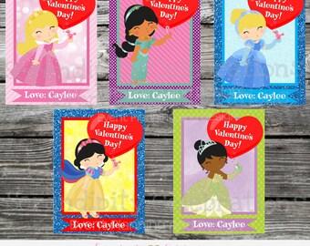Princess Printable Valentine Card, Valentine Cards, Kids Valentines Day Cards, Snow White, Cinderella, Sleeping Beauty, Girls Valentine Card