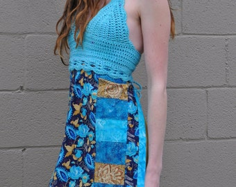 Blue Roses Crochet and Patchwork Apron Top // Ooak Hand dyed Handmade Hippie Tunic
