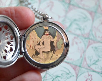 Lilith pendant locket necklace, hidden art painting Lilith jewelry Occult jewelry