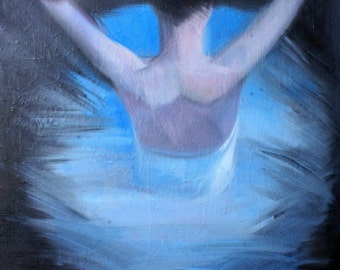 Original oil painting on canvas, Ballerina painting modern art, Blue painting of woman, Ballet dancer artwork canvas, dance gift