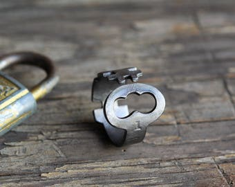 Ring made from an antique key! - Size 10 - Sargent Skeleton - Jewelry - Powder Coated Steel - Repurposed - Handcrafted
