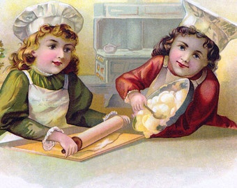 Children Bake Fabric Block - Little Chefs in the Kitchen Baking and Cooking