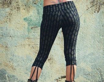 Organic cotton leggings- Gold Crystal print leggings-Cotton legggings