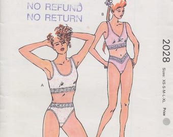 Vintage 1980 sewing pattern - Kwik Sew: Camisole bra and panties - XS S M L XL - Unused