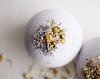 Lovely Dreams Natural Fizzing Bath Bomb - Lavender and Peppermint Essential Oil 4.5 oz Bath Bomb with Kaolin Clay and Epsom Salts