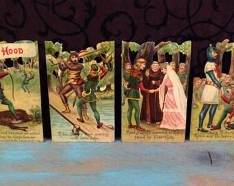 Wonderful Robin Hood Die Cut Scraps Set, Victorian Antique Diecut Scraps, Maid Marian Wedding, Folk Tale Archery, German Made