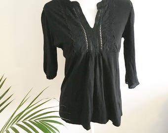 Black lace t-shirt- lace neck- three quarter sleeves- vintage black clothing