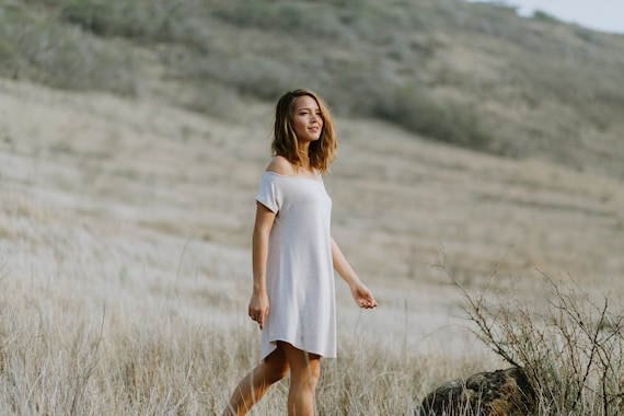 Darla Off The Shoulder Dress / Heather Oatmeal or Black