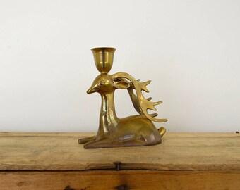 Brass Deer Candlestick