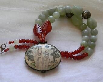 Bone locket pendant w celadon jade beads necklace , Chinese illustrated bone locket pendant , unusual jade jewelry , vintage Chinese silver