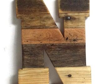 wooden letter n reclaimed wood letter 16 wood letter pallet letter large wood letter rustic home decor rustic wedding decor