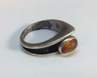 Tasco Mexico Silver Ring with Opal Vintage size 9-1/4