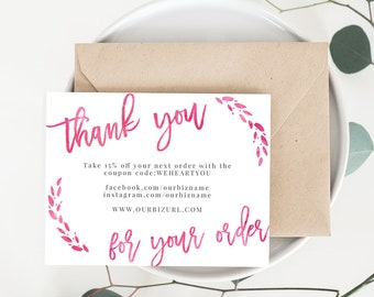 INSTANT Business Thank You Cards, Editable PDF Printable Packaging Inserts for Online Shops, Etsy Sellers | Watercolor Pink, Lola | Template