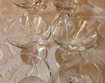 Eight Etched Glass Parfait Glasses