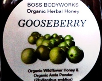 Organic GOOSEBERRY Honey - herbal amla infused wildflower honey, non-GMO