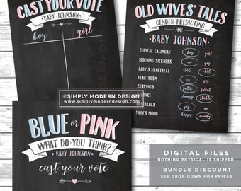 chalkboard gender reveal party signs, old wives tales sign, cast your vote sign, blue or pink, pink or blue, PRINTABLE, DIGITAL FILE