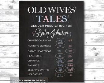 chalkboard gender reveal party old wives tales sign, gender reveal sign, chalkboard, gender predicting, sign, PRINTABLE, DIGITAL FILE