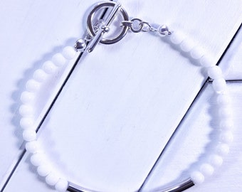 White Czech Glass Bracelet