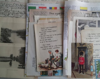 Paper Vintage Ephemera Pack Original Collage Altered Art Card Scrapbook 1890s to 1980 Ledger Textbook Childrens Map Atlas Postage Color