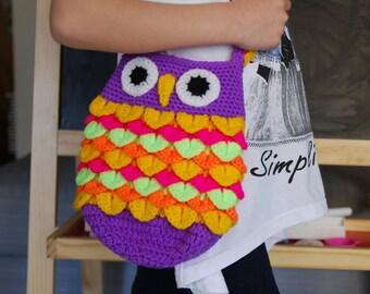 Kids Cross body owl bag. Crochet backpack for toddlers. Gift under 30euros. Birthday gift. Hot pink, yellow, orange, mauve