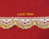 3-3/4 YARDS, WHITE Gold 1/2 Inch, Flat Lace Sewing Edge Trim, Glossy Scallop Edge, L298