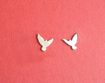Dove Stud Earring, bird earring, mismatched earring, sterling silver