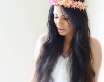 ROMANTIC Pink Flower Crown, Floral Headband, Boho Headband, Floral Crown