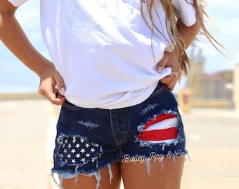 American flag shorts Levis High waisted Denim Shorts