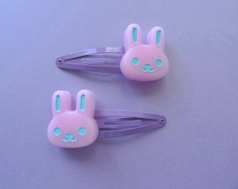 Pink Bunny Hair Clips --Kawaii- Pastel Goth- Gothic Lolita- Sweet Lolita-JFashion- Harajuku- Fairy Kei- Creepy Cute