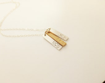 Mother's Necklace | Kid's Initials Necklace | Grandmother's Necklace | Gold Bar | Sterling Silver Bar | Mother's Day | Gift for Her