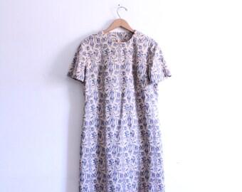 Art Nouveau Pattern 70s Shift Dress