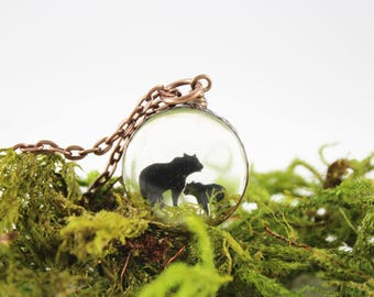 Mama Bear 2, real moss copper necklace
