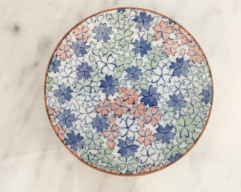Blue Asian Plate, Pink Blue Floral Plate, Japanese Plate, Japanese Dish, Asian Porcelain, Asian Decor