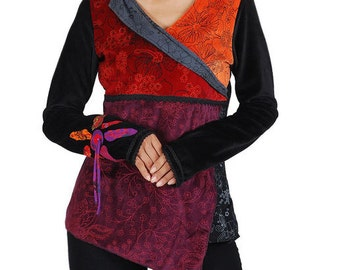 Tibetan style Velvet Top with prints- Cotton  - Tribal - Elf - Faerie