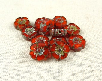 Czech Glass Beads, Hibiscus Flower - Burnt Orange Opaline  (FL10/RJ-0747) - 10mm - Qty. 8
