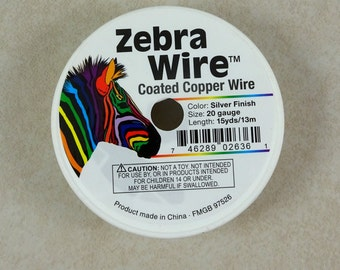 Zebra Wire, SILVER 20g (1491) - Coated Copper Wire, Silver Color - 20 Gauge Wire for Wire Wrapping - 15 yard spool