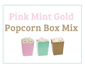 Mini Popcorn Boxes, Mint, Pink, Gold, popcorn box, treat, favors, 6, wedding, bridal shower, baby shower, girls first birthday