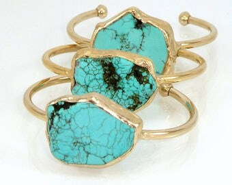 Turquoise Cuff Bracelet, Turquoise, December Birthstone, Gold Cuff  Gemstone Bracelet, Crystal Jewelry, Stone Bracelet, Turquoise Bracelet.