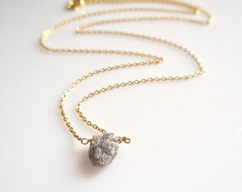 Raw Diamond Necklace - Gray Diamond, Oxidized Silver or Yellow Gold Filled Chain, Rugged, Rough Diamond, Natural, Featured on BuzzFeed