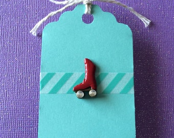 Bright Red Roller Skate Pin - Roller Derby - Gem Wheels - Enamel Lapel Pin - Tack Backing with Clutch Clasp