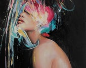 Abstract Female Portrait, Modern Art, Original Oil Painting, Portraiture, Figurative Art, Stretched Canvas Wall Hanging