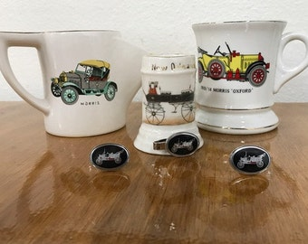 Enesco Shaving Mug, Mustache Cup, Souvenir Cup, Cuff Links and Tie Clip of Old Buggy's