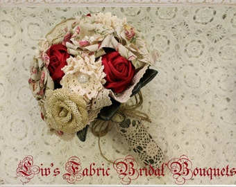 Bridal Bouquet ivory hessian roses, printed floral linen flowers and rolled red satin roses, vintage style