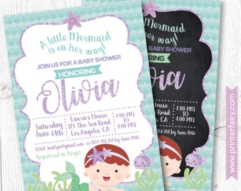 Mermaid Baby Shower Invitation, Mermaid Invitation, Under the Sea Baby Shower, DIGITAL, 2 Options